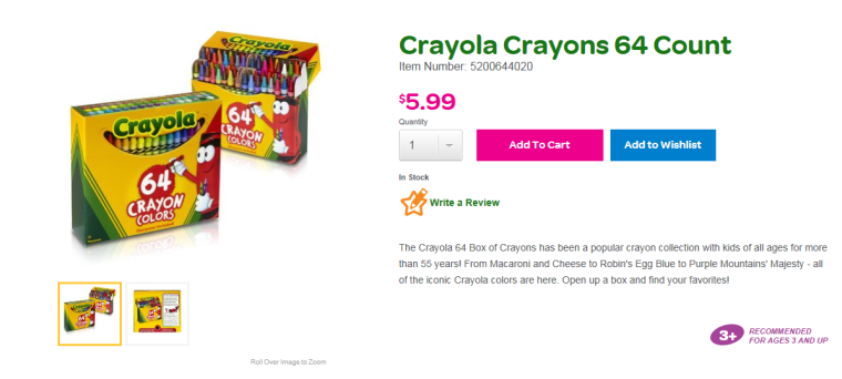 Screenshot from Crayola Website. Childhood jealousy not included.